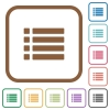 Unordered list simple icons - Unordered list simple icons in color rounded square frames on white background