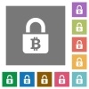 Locked Bitcoins square flat icons - Locked Bitcoins flat icons on simple color square backgrounds