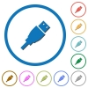 USB plug icons with shadows and outlines - USB plug flat color vector icons with shadows in round outlines on white background