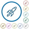 Launched rocket icons with shadows and outlines - Launched rocket flat color vector icons with shadows in round outlines on white background
