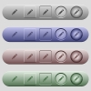 Pencil with rubber icons on menu bars - Pencil with rubber icons on rounded horizontal menu bars in different colors and button styles