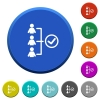 Successful teamwork beveled buttons - Successful teamwork round color beveled buttons with smooth surfaces and flat white icons