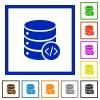 Database programming flat framed icons - Database programming flat color icons in square frames on white background