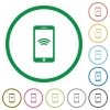 Cellphone with wireless network symbol flat color icons in round outlines on white background - Cellphone with wireless network symbol flat icons with outlines