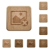 Cancel image operations wooden buttons - Cancel image operations on rounded square carved wooden button styles