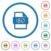 ISO file format flat color vector icons with shadows in round outlines on white background - ISO file format icons with shadows and outlines