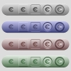 Euro sign icons on menu bars - Euro sign icons on rounded horizontal menu bars in different colors and button styles