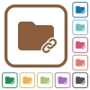 Folder link simple icons - Folder link simple icons in color rounded square frames on white background