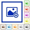 Image settings flat framed icons - Image settings flat color icons in square frames on white background
