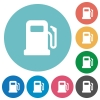 Gas station flat round icons - Gas station flat white icons on round color backgrounds