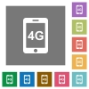 Fourth generation mobile network square flat icons - Fourth generation mobile network flat icons on simple color square backgrounds