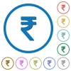 Indian Rupee sign icons with shadows and outlines - Indian Rupee sign flat color vector icons with shadows in round outlines on white background