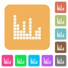 Sound bars rounded square flat icons - Sound bars flat icons on rounded square vivid color backgrounds.