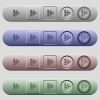 Color swatch icons on menu bars - Color swatch icons on rounded horizontal menu bars in different colors and button styles
