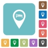 Hotel GPS map location rounded square flat icons - Hotel GPS map location white flat icons on color rounded square backgrounds