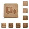 Money deliverer truck on rounded square carved wooden button styles - Money deliverer truck wooden buttons