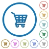 Shopping cart icons with shadows and outlines - Shopping cart flat color vector icons with shadows in round outlines on white background