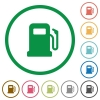 Gas station flat icons with outlines - Gas station flat color icons in round outlines on white background