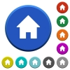 Home beveled buttons - Home round color beveled buttons with smooth surfaces and flat white icons