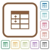 Spreadsheet adjust table row height simple icons - Spreadsheet adjust table row height simple icons in color rounded square frames on white background