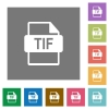 TIF file format square flat icons - TIF file format flat icons on simple color square backgrounds