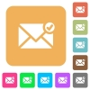 Mail sent rounded square flat icons - Mail sent flat icons on rounded square vivid color backgrounds.
