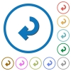 Return arrow icons with shadows and outlines - Return arrow flat color vector icons with shadows in round outlines on white background