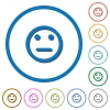 Neutral emoticon icons with shadows and outlines - Neutral emoticon flat color vector icons with shadows in round outlines on white background