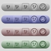 Dollar commercial call icons on menu bars - Dollar commercial call icons on rounded horizontal menu bars in different colors and button styles