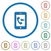 Incoming mobile call icons with shadows and outlines - Incoming mobile call flat color vector icons with shadows in round outlines on white background