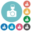 Camera with flash flat round icons - Camera with flash flat white icons on round color backgrounds