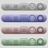 Monitor icons on menu bars - Monitor icons on rounded horizontal menu bars in different colors and button styles