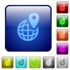GPS location with globe symbol color square buttons - GPS location with globe symbol icons in rounded square color glossy button set