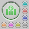Ruble financial graph push buttons - Ruble financial graph color icons on sunk push buttons
