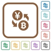 Yen Bitcoin money exchange simple icons - Yen Bitcoin money exchange simple icons in color rounded square frames on white background