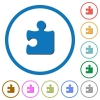 Puzzle icons with shadows and outlines - Puzzle flat color vector icons with shadows in round outlines on white background