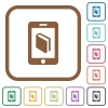 E-book simple icons - E-book simple icons in color rounded square frames on white background