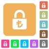 Locked lira rounded square flat icons - Locked lira flat icons on rounded square vivid color backgrounds.