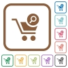 Search cart item simple icons - Search cart item simple icons in color rounded square frames on white background
