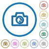 Camera icons with shadows and outlines - Camera flat color vector icons with shadows in round outlines on white background