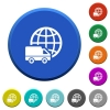 International transport beveled buttons - International transport round color beveled buttons with smooth surfaces and flat white icons