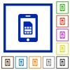 Mobile simcard flat framed icons - Mobile simcard flat color icons in square frames on white background