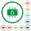 Hardware unlocked flat icons with outlines - Hardware unlocked flat color icons in round outlines on white background
