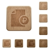 Ruble financial report wooden buttons - Ruble financial report on rounded square carved wooden button styles