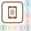 Smartphone fingerprint identification simple icons - Smartphone fingerprint identification simple icons in color rounded square frames on white background