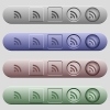 Radio signal icons on menu bars - Radio signal icons on rounded horizontal menu bars in different colors and button styles