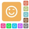 Winking icons with shadows and outlines rounded square flat icons - Winking icons with shadows and outlines flat icons on rounded square vivid color backgrounds.