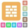 Brick wall rounded square flat icons - Brick wall flat icons on rounded square vivid color backgrounds.