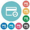 Safe credit card transaction flat round icons - Safe credit card transaction flat white icons on round color backgrounds
