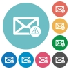 Mail warning flat white icons on round color backgrounds - Mail warning flat round icons